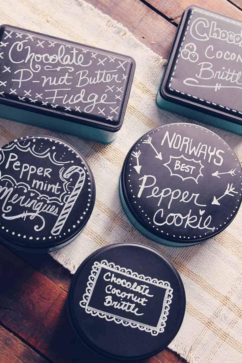 Peinture à la craie - peinture ardoise - boite à biscuits