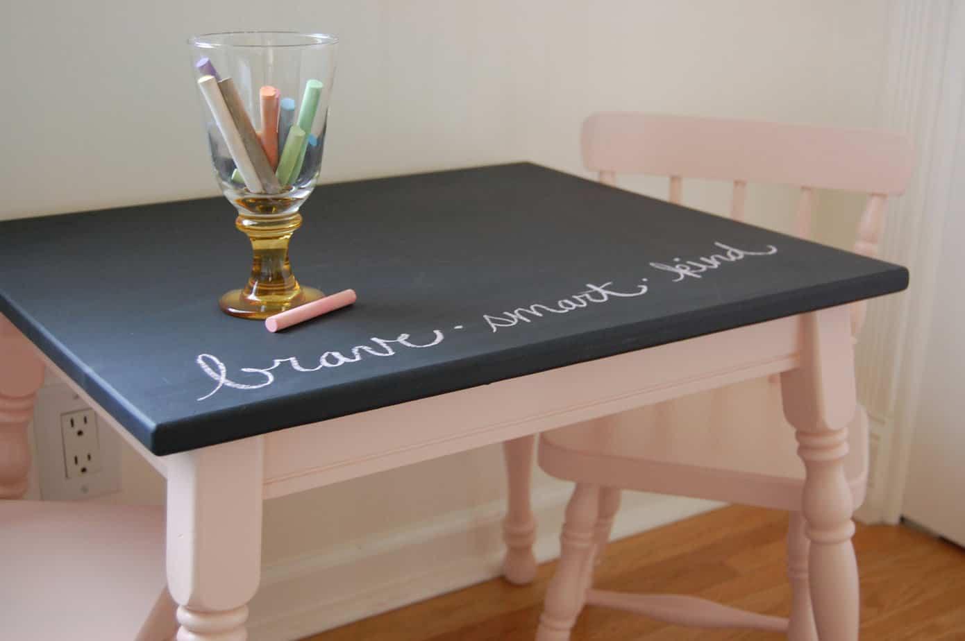 peinture à la craie - peinture ardoise - table